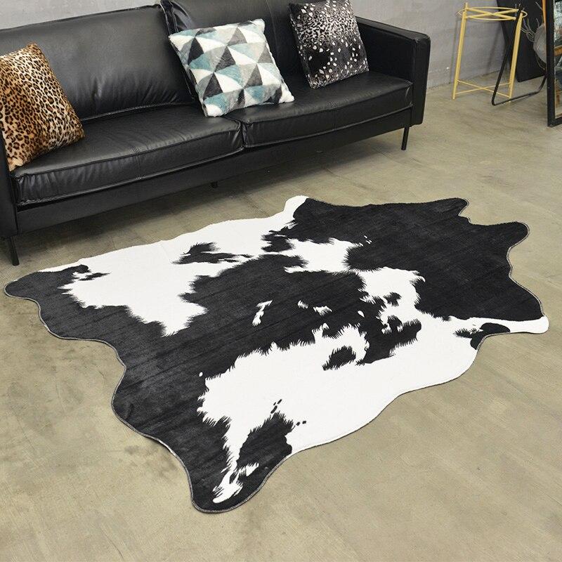 Noir et Blanc Imitation Peaux Tapis et Tapis de Vache Artificielle PV Velours Tapis pour Salon Chambre Non-slip Tapis de sol