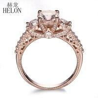HELON Solid 10K Rose Gold Pave Lightest Pink Morganite Round Full Cut Natural VS Diamonds Wedding