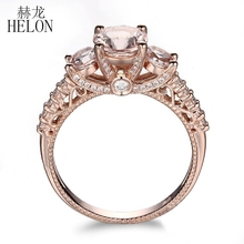 HELON Solid 10K Rose Gold Pave Lightest Pink Morganite Round Full Cut Natural VS Diamonds Wedding Anniversary Women Jewelry Ring