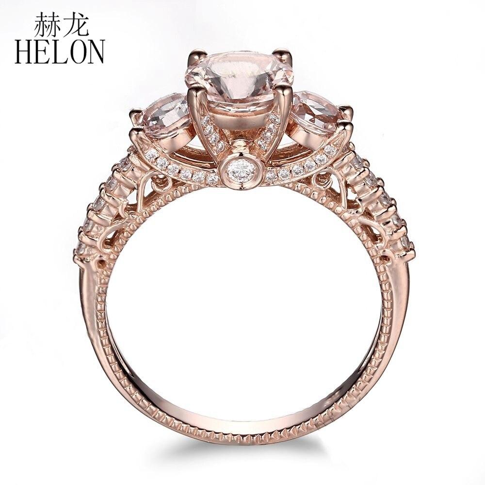 HELON solide 10 K or Rose pavé le plus léger Rose Morganite ronde pleine coupe naturelle VS diamants mariage anniversaire femmes bijoux bague