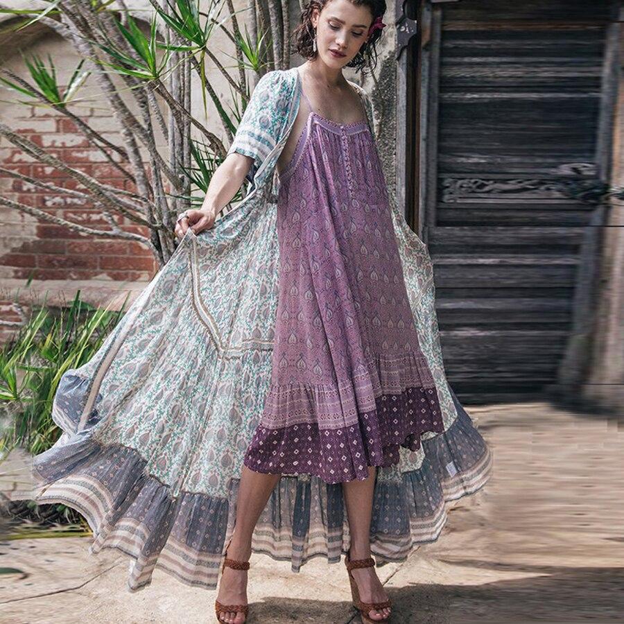 dea143e2192 TEELYNN boho платье 2018 розовый цветочный принт А-силуэт летнее платье без  рукавов на бретелях свободное шикарное хлопковое повседневное хиппи же.