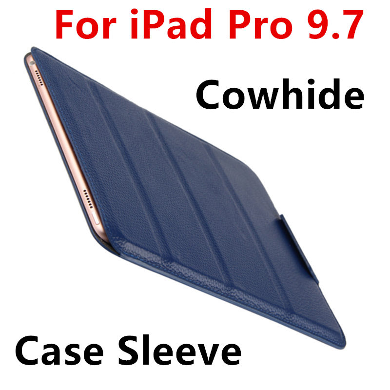 купить Case Cowhide Sleeve For iPad Pro 9.7 Tablet PC Protective Smart cover Protector Genuine Leather For Apple iPad 7 Cases 9.7 inch онлайн