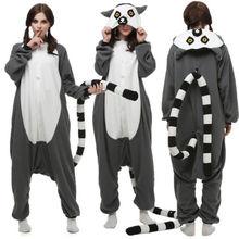Christmas Halloween Birthday Gift Lemur Catta Pajamas Homewear Hoodie Onesies Sleepwear Robe For Adults