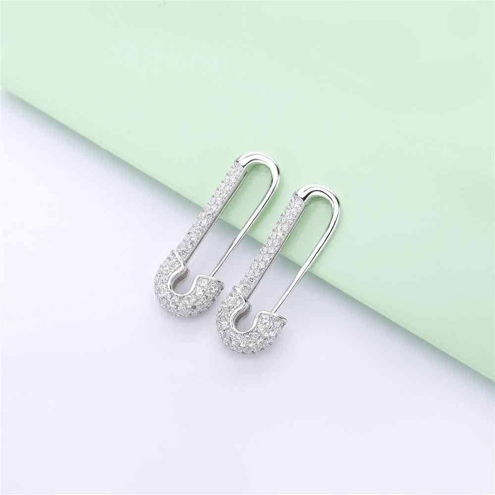 Slovecabin Perancis 2019 Merek Perhiasan Wanita 925 Sterling Silver 3 Gaya Micro Pave Safety Pin Pulse Manset Telinga Anting-Anting Tunggal