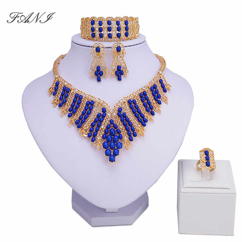 Fani Fashion African Beads Jewelry Sets Wholesale Dubai Gold Colorful Brand Jewelry Set Costume Design nigerian bridal bead set