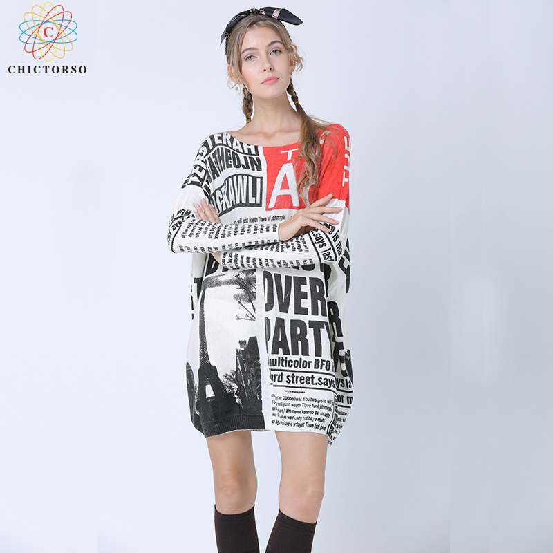 Chictorso Fashion Paper Print Long Sweater Dress Batwing Sleeve Letter Women Jumper Girl Casual Autumn Pullovers Spring Knitwear