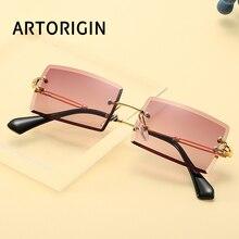 Rimless Small Rectangle Sunglasses Women Brand Square Sun Gl