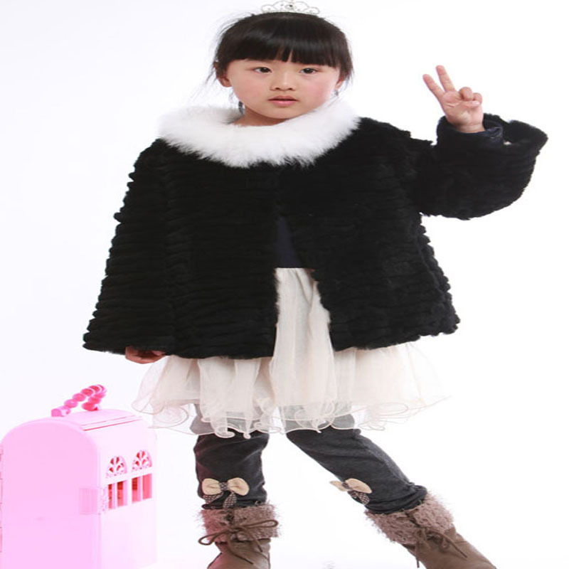 38869b94 Factory wholesale fashion New Children Fur coat,100% quality girl\\\'s Rabbit  fur coat,fox fur collar Kids coat CFLL014