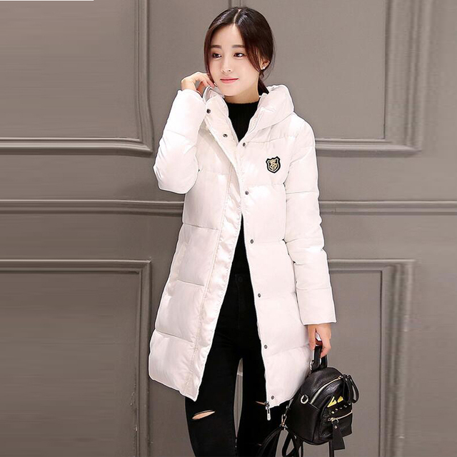 37ef93b8b75 2018 Women Winter Hooded Warm Coat Plus Size Candy Color Cotton Padded  Jacket Female Long Parkas