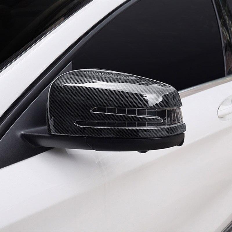 2 x En Fiber De Carbone ABS Chrome Porte Latérale Rétroviseur Miroir Cap Couverture Garniture Pour Mercedes Benz Un CLA GLA GLK classe W176 W117 X156 X204