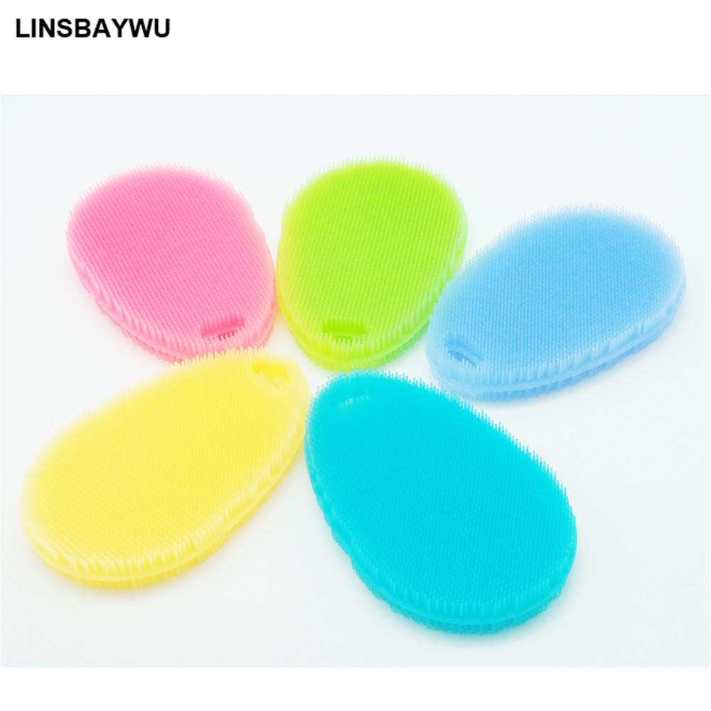 Silicone Sponge Scrubber Kitchen Tool Fruit Dish Washing Household Cleaning Pot Brush