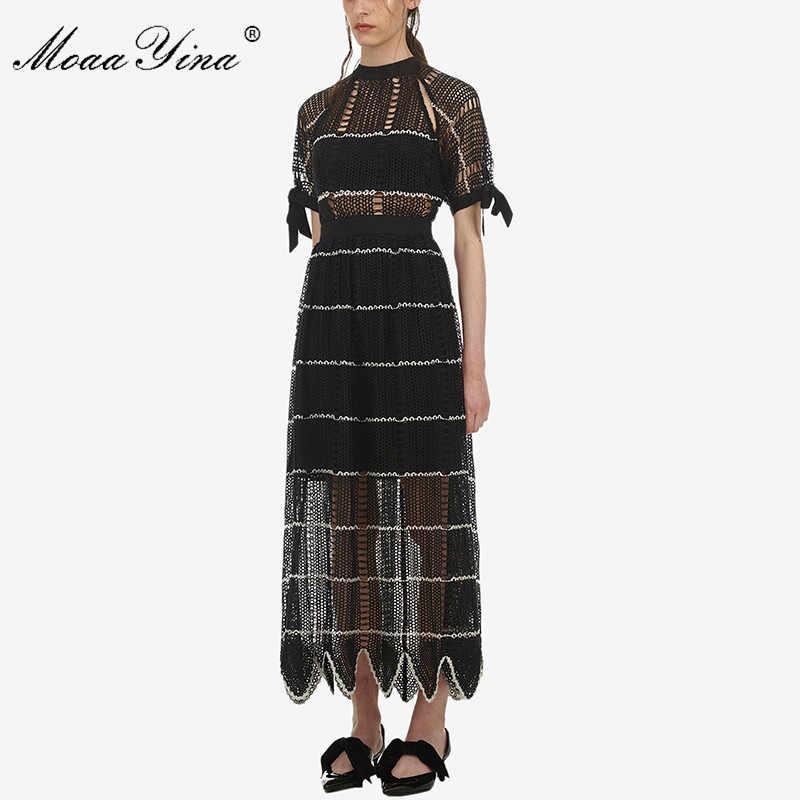 MoaaYina высококачественное модное дизайнерское подиумное платье Весна Лето Женское платье с коротким рукавом выдалбливают черные длинные платья