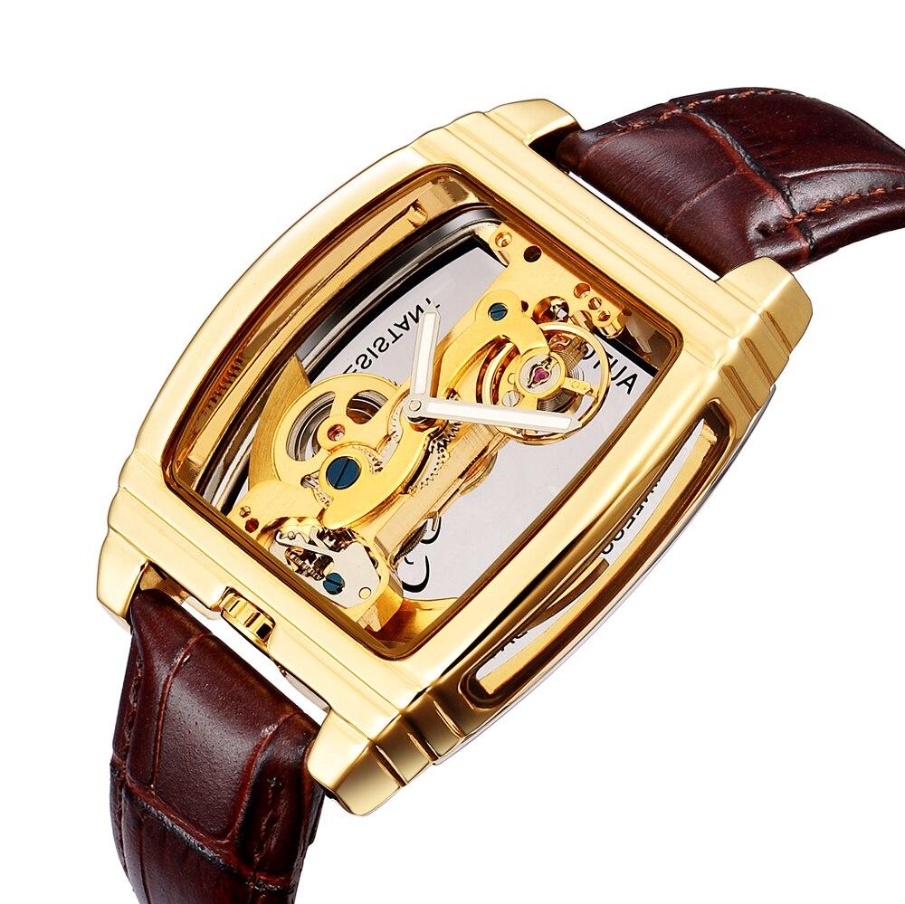 SHENHUA minimalisme Design bracelet en cuir noir boîtier en or Transparent hommes montre Top marque de luxe Steampunk montre-bracelet automatique