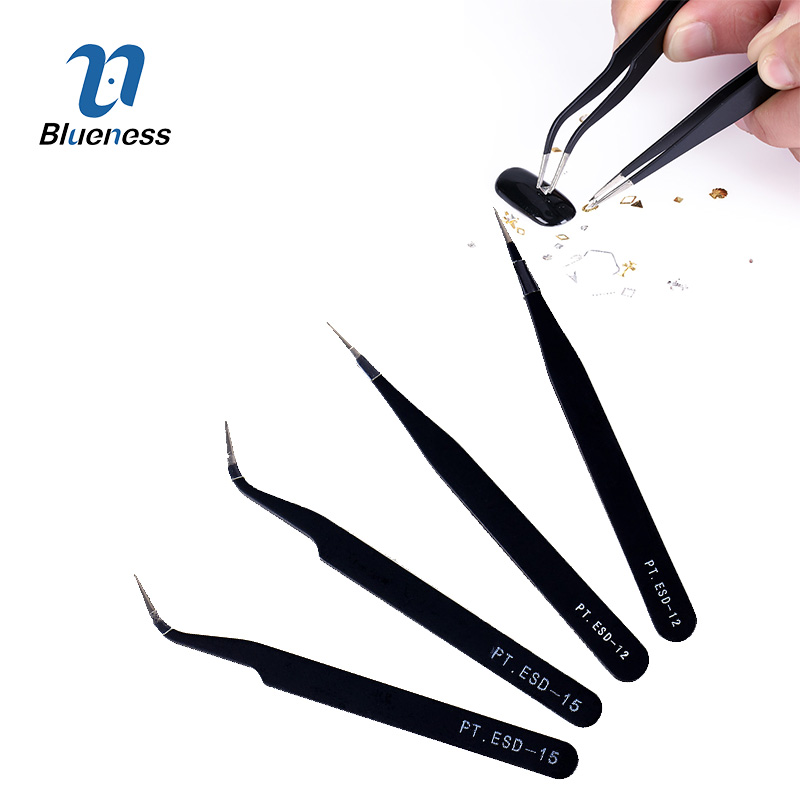 2 Pcs Black Acrylic Gel Nail Art Rhinestones Straight Curved Stainless Steel Tweezers Antistatic Paillette Nipper Picking Tool ...