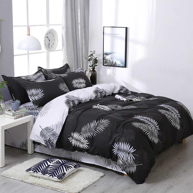 Brief Black Leaf Pattern Bedding Sets 3/4pcs Soft Comfortable Family Set Sheet Duvet Cover Pillowcase Flat Sheet Bed Linings