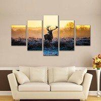 5 Pieces Picture Animal Painting Deer Picture Frames Living Room Home Decoration Wall Art Canvas Print