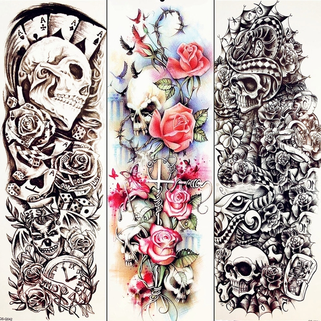 355d7e30b 48x17CM Totem Temporary Tattoo Barbed Roses Sexy Summer Style Cross Clown  Tatoo Stickers Men Girls Women Pigeon Tattoo Legs