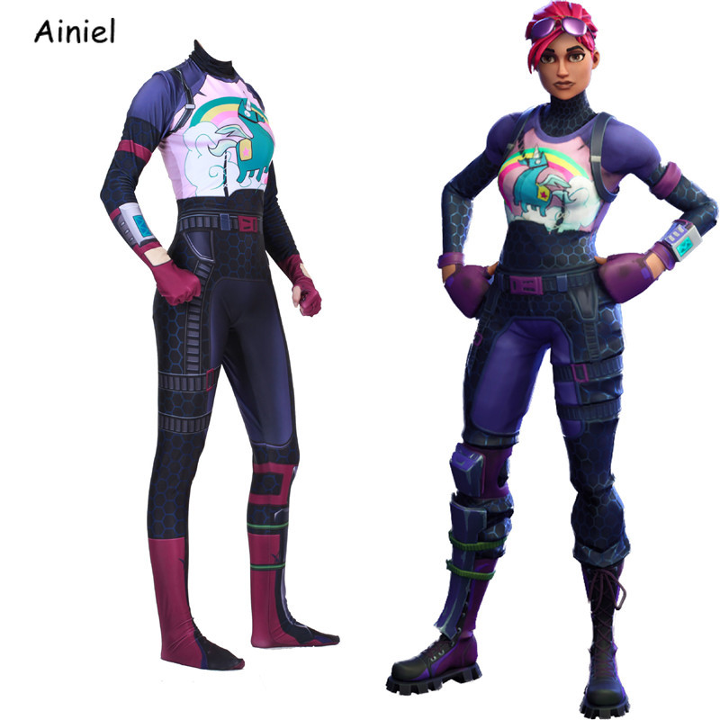 Women Kids Game Fortnight Cosplay Costume Brite Bomber Rainbow Horse Zentai Bodysuit Suit Jumpsuits Halloween Costume for Adult