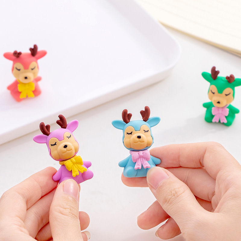 3 Pcs/lot Reindeer Eraser Cartoon Animal Writing Drawing Rubber Pencil Eraser Stationery For Kids Gifts School Suppies