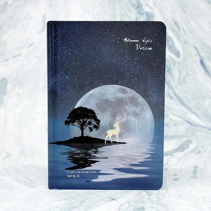 1pcs Full Color Hand-painted Hardcover Notebook Midsummer Night Dream Luminous Creative Deer Hand Account This Diary