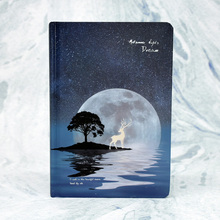 1pcs Full color hand-painted hardcover notebook midsummer night dream luminous creative deer hand account this diary lenwa ancient color page notebook hand painted chinese notebook illustration classical retro gift diary 1pcs