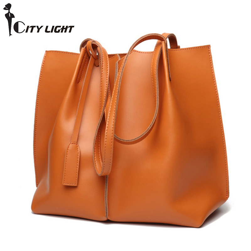 Large Bucket Bags For Women 2018 Genuine Leather Soft Casual Tote Bag Luxury Handbags Women Bags