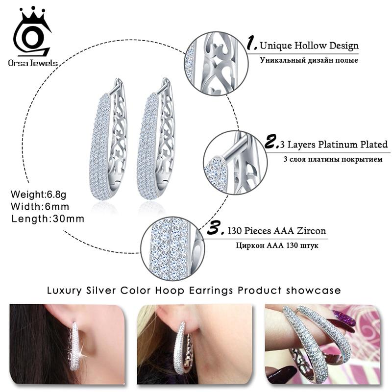 ORSA JEWELS Luxury Silver Color Hoop Örhängen Paved med AAA - Märkessmycken - Foto 5