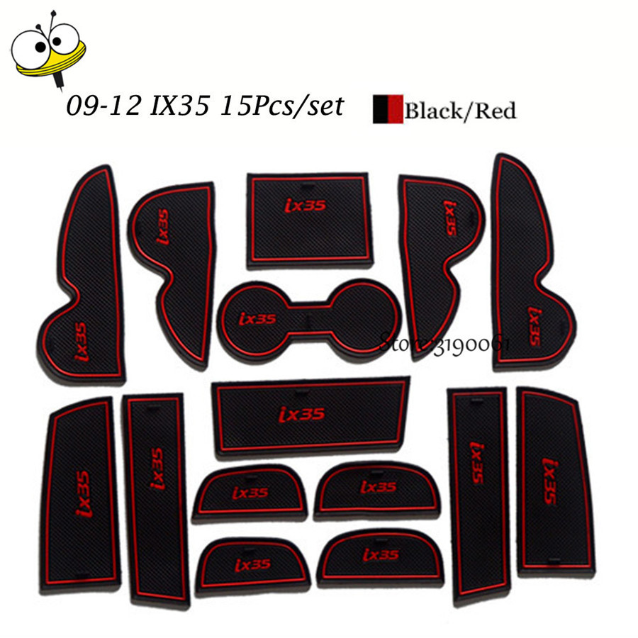 Car Interior <font><b>Accessories</b></font> Rubber Auto Luminous Gate Door Pad Anti-Slip Cup Holder Mat Cover Cushion For 2009-2012 <font><b>Hyundai</b></font> <font><b>IX35</b></font> image