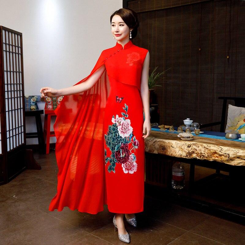 Red Rayon Print Stylish Ladies Chinese Traditional Dresses Handmade Button Qipao Mandarin Collar Sexy Cheongsam Plus