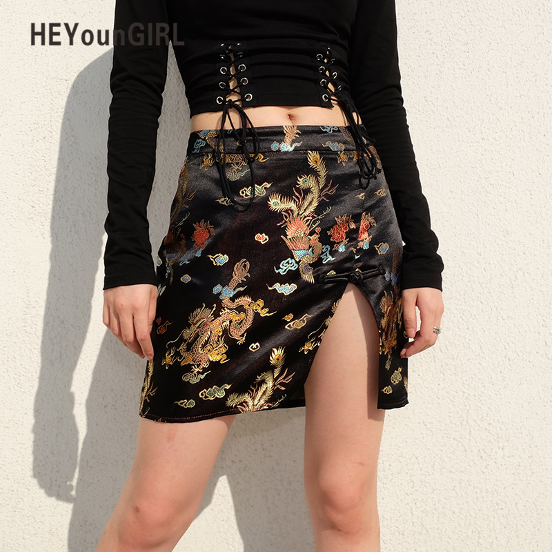 HEYounGIRL Chinese Style Bodycon Short Mini Skirt Printed Casual Black High Waist Skirt Split Side Pencil Skirts Womens Vintage