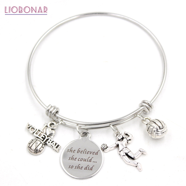 1pc Stainless Steel Wire Bangle Expandable Jewelry Sport Charm Bracelets I Love Volleyball For