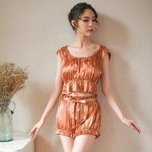 Yhotmeng new summer round neck sexy retro pleated pajamas luxury sweet simple ice silk fabric bloomers set