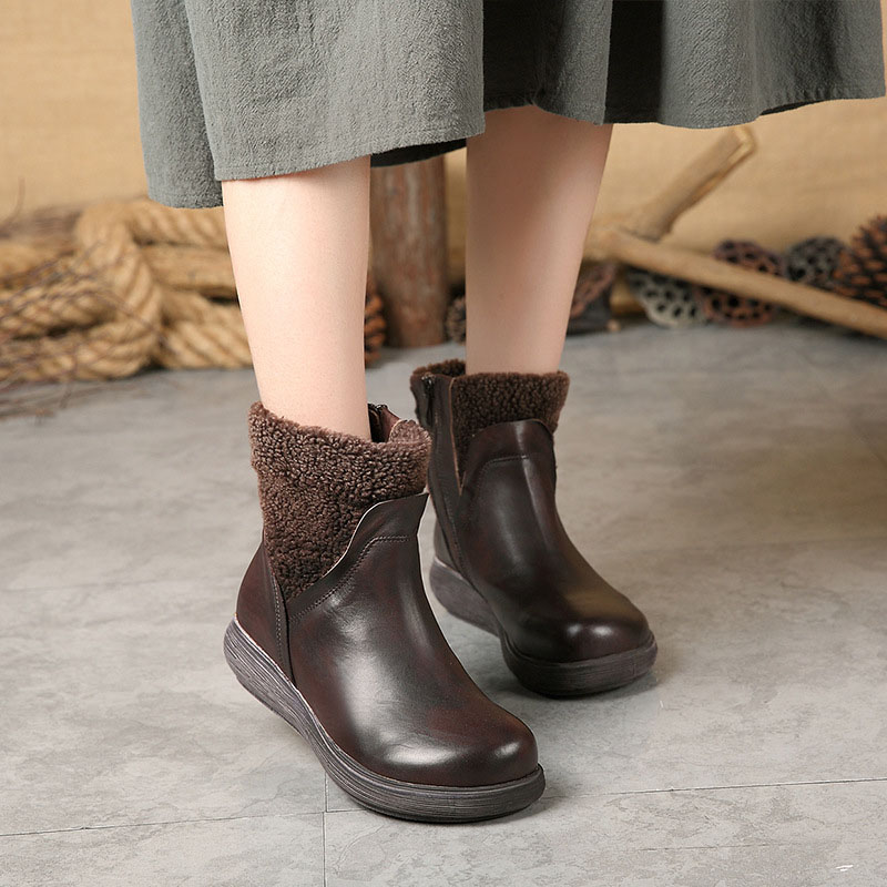 Autumn and winter new women's shoes casual handmade suede leather boots women's wedges women's boots suede leather shoes кеды cypress suede leather