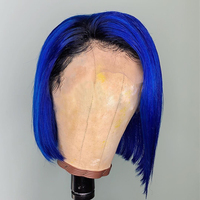 blue short Straight bob Lace Frontal Wigs Human Hair Brazilian Remy 613 Blonde custom made Blue Red Grey Green for Black Women