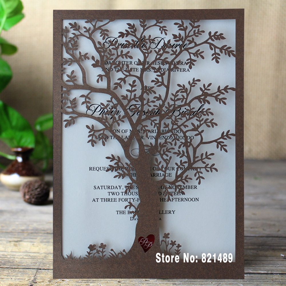Rustic Tree Wedding Invitation, Laser Cut Tree Invitations ...