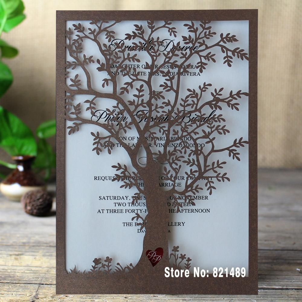 Rustic Tree Wedding Invitation Laser