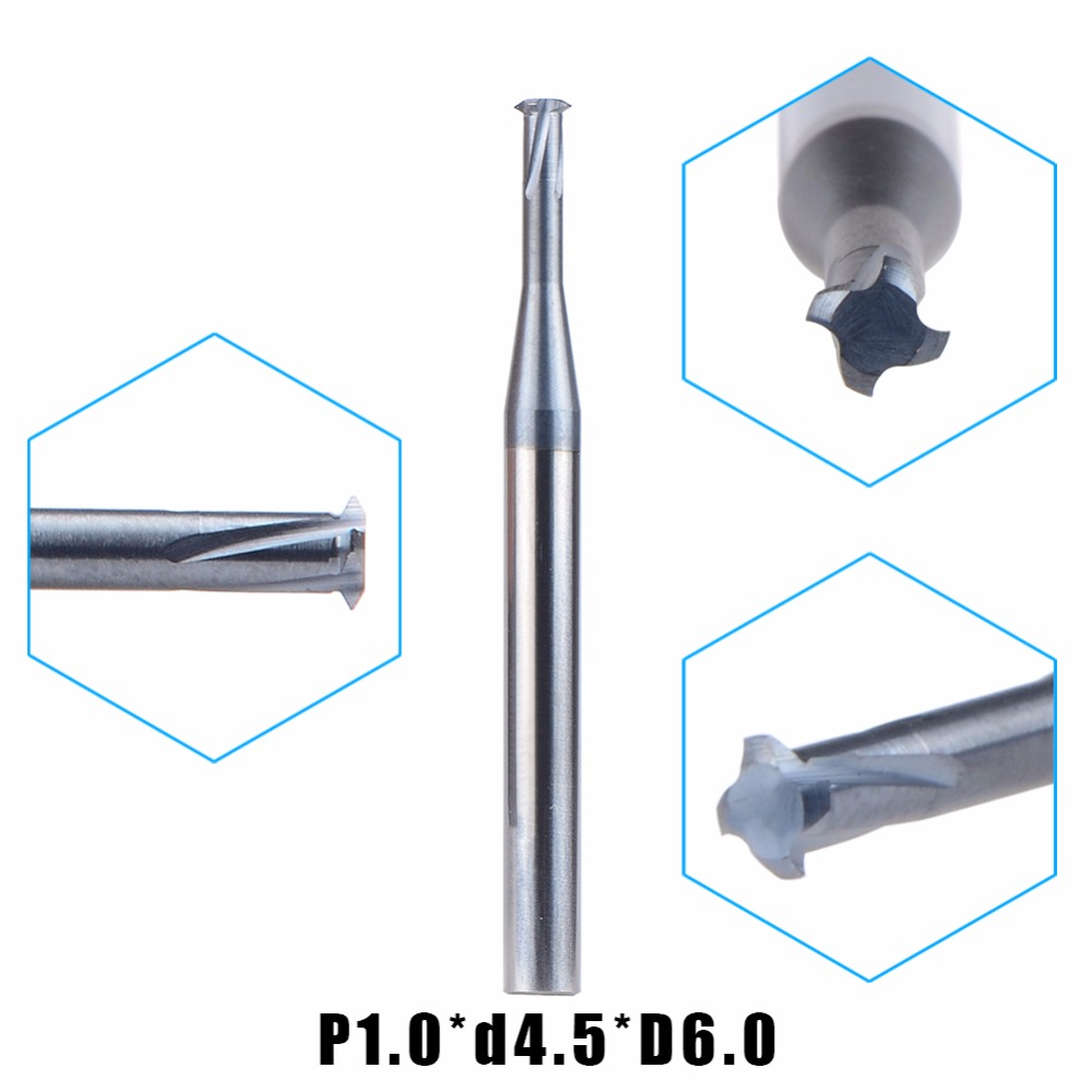 1pc P1.0*d4.5*D6 tungsten carbide alloy Single teeth metric thread milling cutter threading end mill single tooth cutting tool