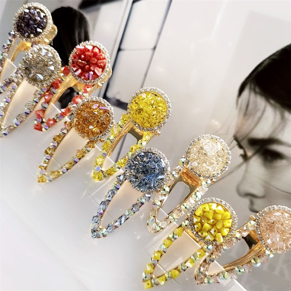 Ladies Bright Candy Color Jewelry Hair Clip Imitation Crystal Glitter Rhinestone Round Duckbill Hairpin Side Bangs Barrette