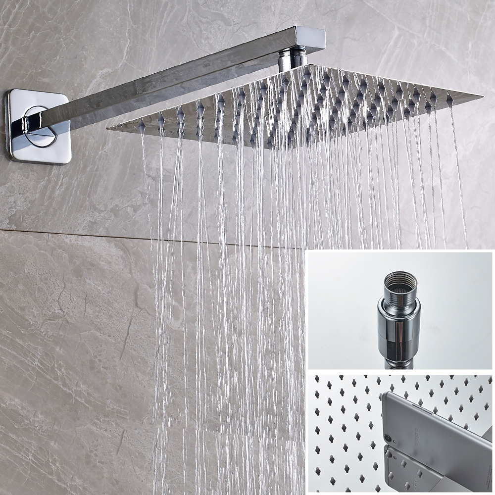 SHBSHAMIY Chrome Bathroom Shower Faucet Set Wall Mounted 8 10 12 16'' Rainfall Shower Head With Digital display Easy Install