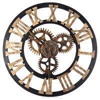 3D Large Retro Decorative Wall Clock Big Art Gear Design 17.7 Inch Home Living Room Corridor Decoration Handmade Wall Clocks Z30