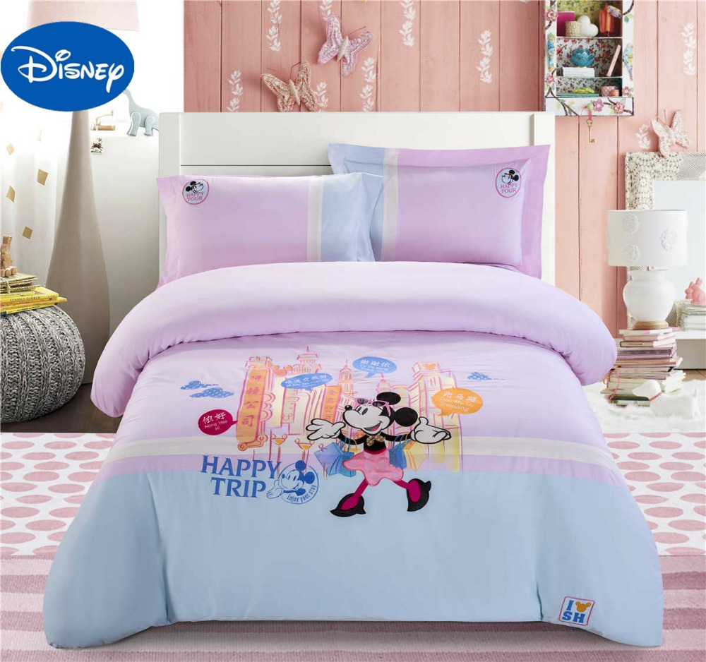 дамское белье мультсериал - Shanghai Minnie Mouse Bedding Set Girls Baby Duvet Covers Disney Cartoon Cotton Applique Embroidery Single Twin Queen Blue Pink