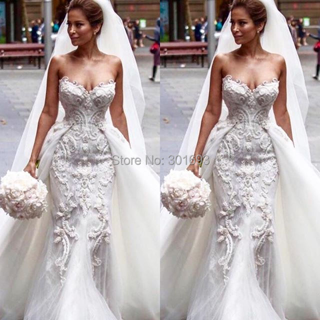 c1038bdcdf6 Gorgeous Elegant OWD805 Sexy Mermaid Beaded Lace and Tulle 2 in 1  Removable Detachable Train Wedding Dress 2016-in Wedding Dresses from  Weddings   Events on ...