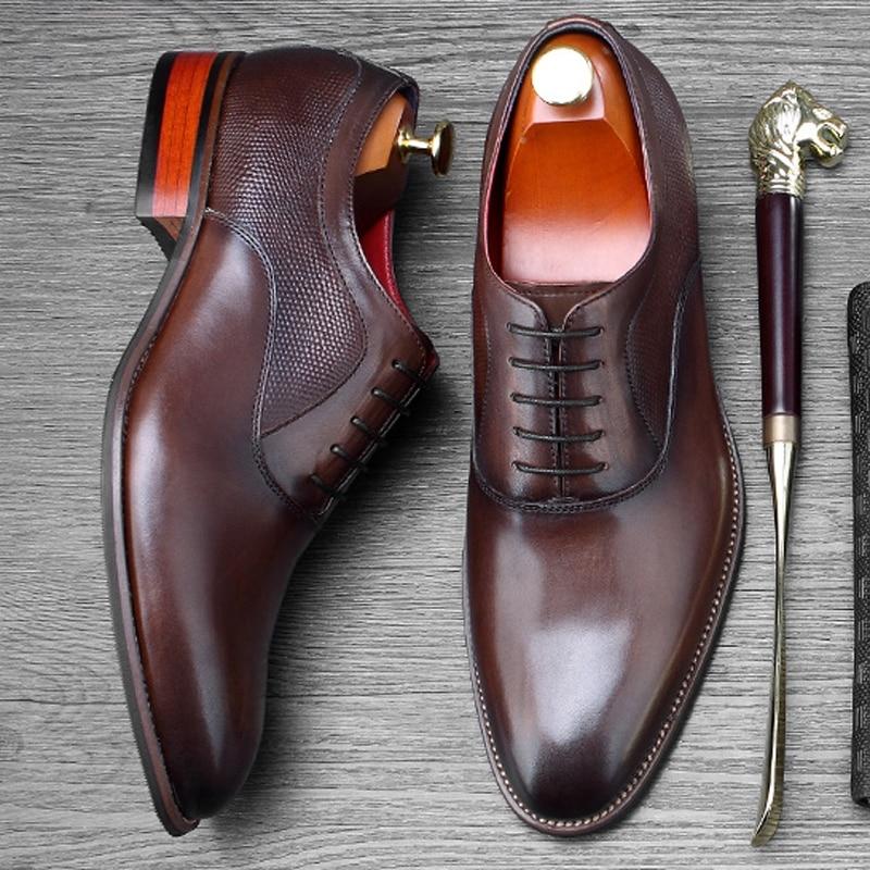 Formale Kleid Neue Für Oxfords Aus Schuhe Kappe Designer brown Marke Partei Ss457 Mode Hochzeit Wohnungen Schwarzes Runde Vintage Männer Echtem Mann Leder ptprEq