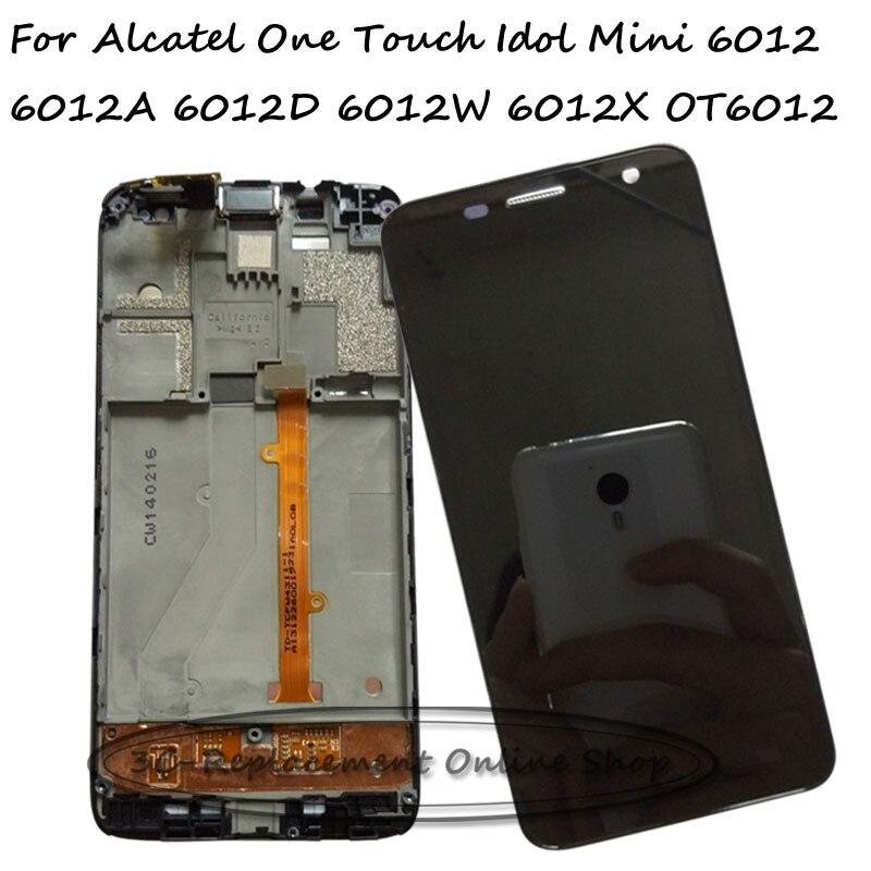 imágenes para Para Alcatel One Touch Mini Ídolo 6012 6012D 6012A 6012 W 6012X OT6012 Lcd de Pantalla Táctil Con Marco Digitalizador Panel asamblea