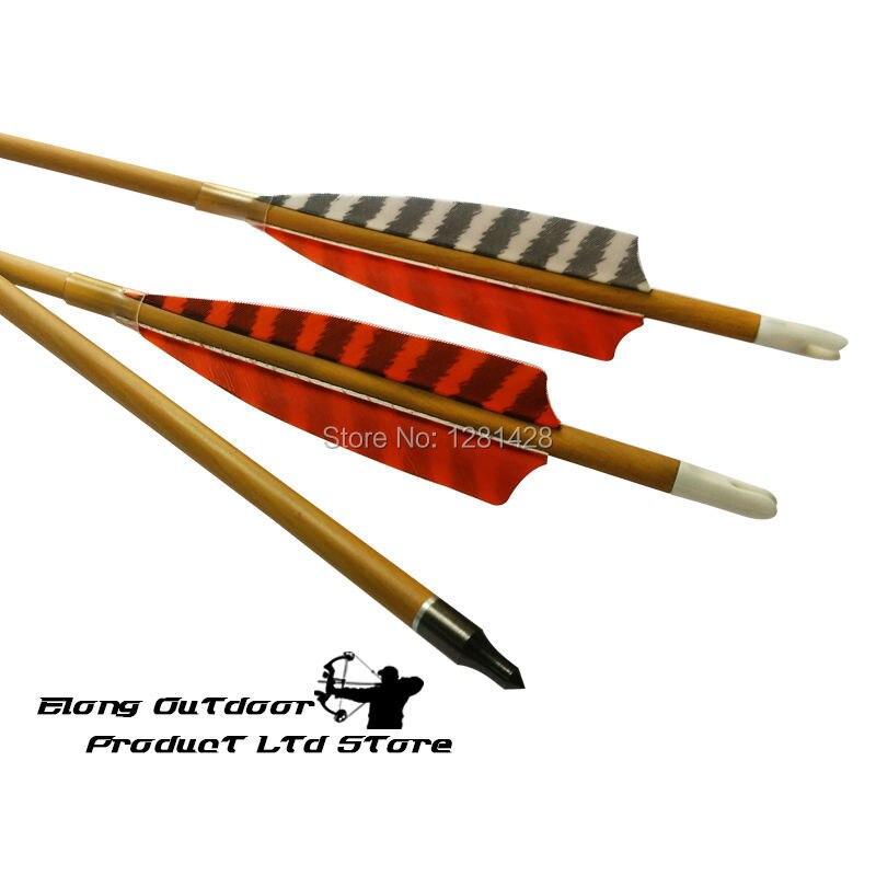 12Pcs Wood Camo Carbon Arrow 30 Spine 600 4 Real Turkey Feather White Orange 100 Grain