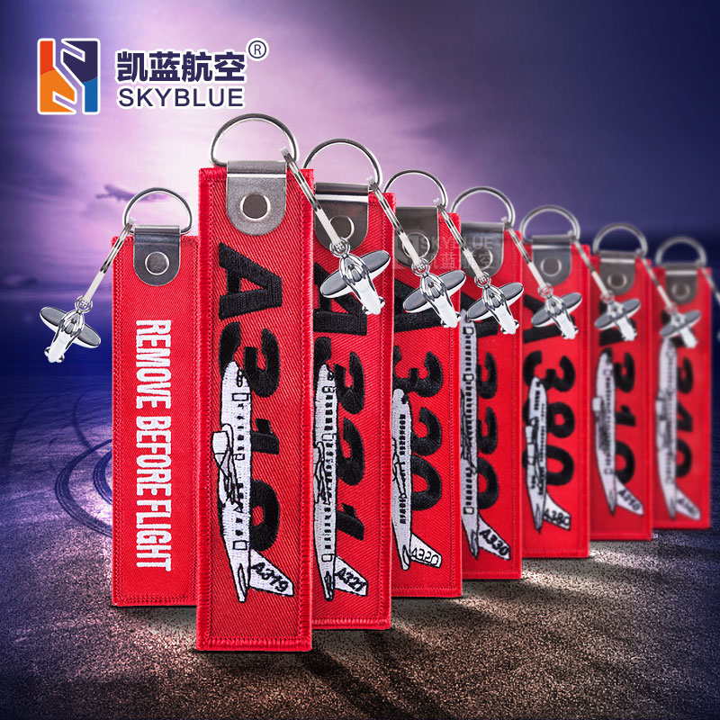 Creative Airbus Tag With Small Metal Plane Red Luggage Bag Tag With Embroidery    A380/ 310 / 340 / 330/ 321/ 320 / 319
