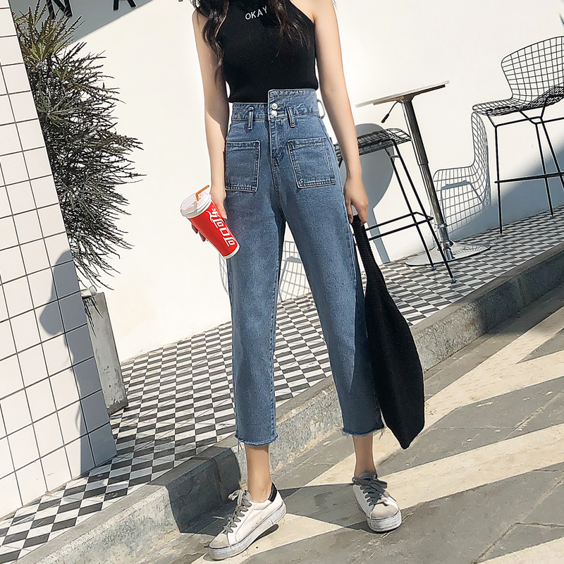 Women Clothes High Waist Jeans Women Loose Solid Color Women Pants New Thin Wild Net Red Wide Leg Old Straight Pants(China)