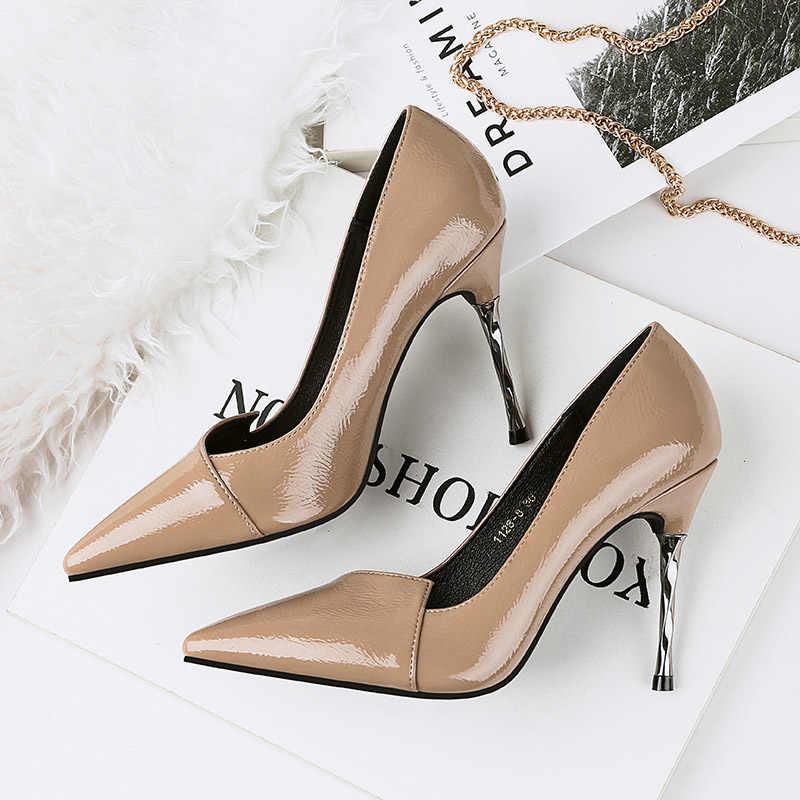 2018 Women 9cm Metal High Heels Bridal Scarpins Leather Pumps Female  Wedding Heels Lady Valentine Leather 9c8996d40775
