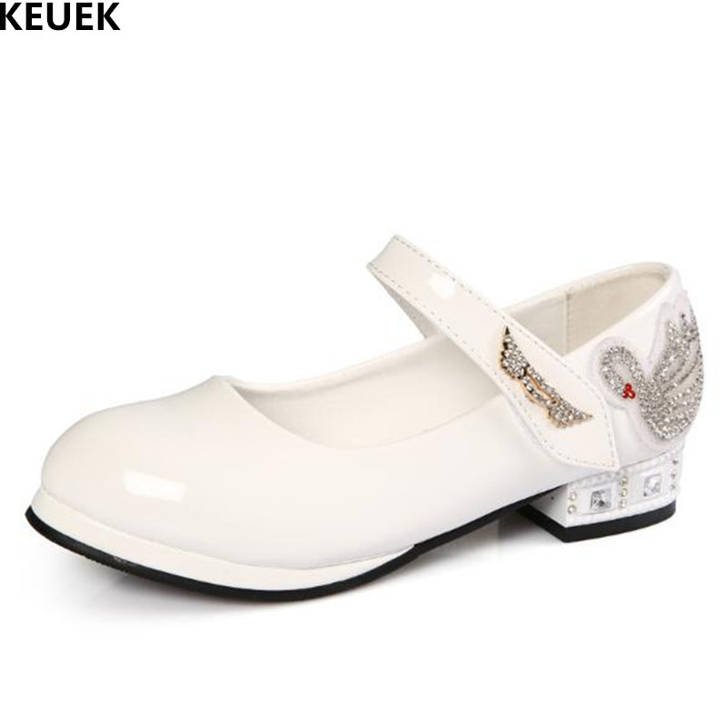 New Spring/Autumn Children Leather Shoes Girls Fashion Rhinestone White wedding Party Black Princess Dance Shoes Kids Dress 041 spring autumn woman dress faux pearl rhinestone beading sleeve cuff knitted dress fashion vintage elastic black red party dress