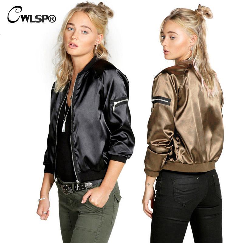 CWLSP Musim Gugur Satin Bomber Jaket untuk Wanita Coats Zipper Lengan - Pakaian Wanita - Foto 4